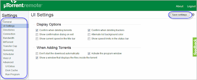 Remote utorrent web app settings
