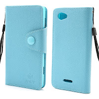 Leather Case Wallet With Credt Card Slot Sony Xperia L S36h C2104 C2105 - Baby Blue