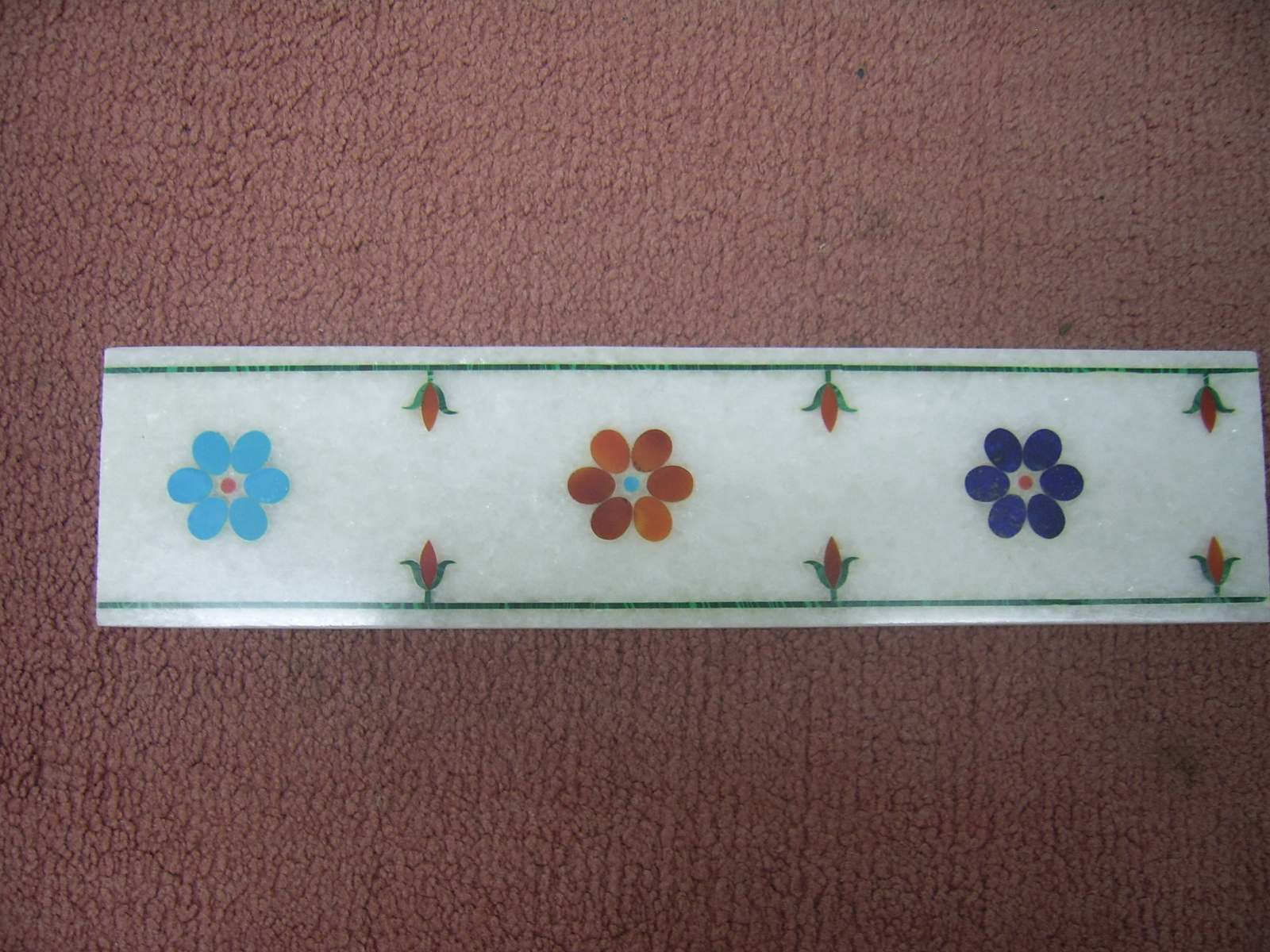 White Marble Inlaid Dining Table Tops Tiles Borders Art and