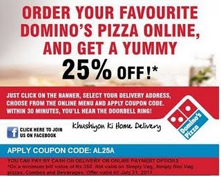 Dominos 30 discount coupon