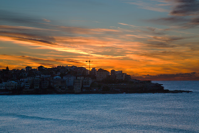 A photograph of sunrise at Bondi in Sydney, Australia