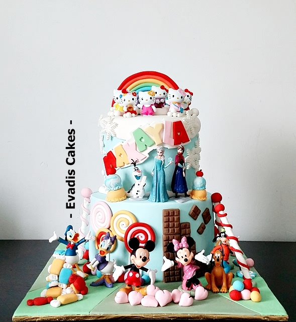 Overall view picture of candy land cake with mickey, frozen and hello kitty