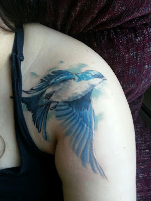 Watercolor Swallow Tattoo
