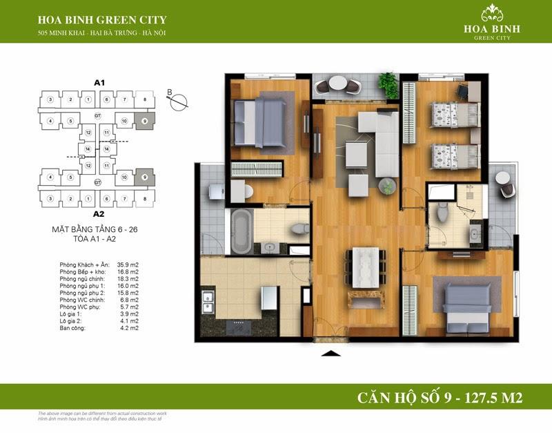 căn số 09 ( 127,5m2 ) chung cư Hòa Bình Green City