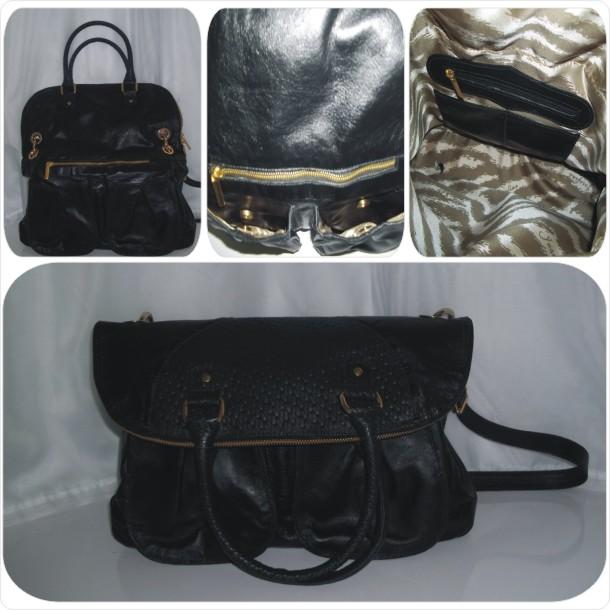 Bolsa em couro liso com detalhes texturizado estilo carteiro (Bolsa/Pasta): Cód.1013