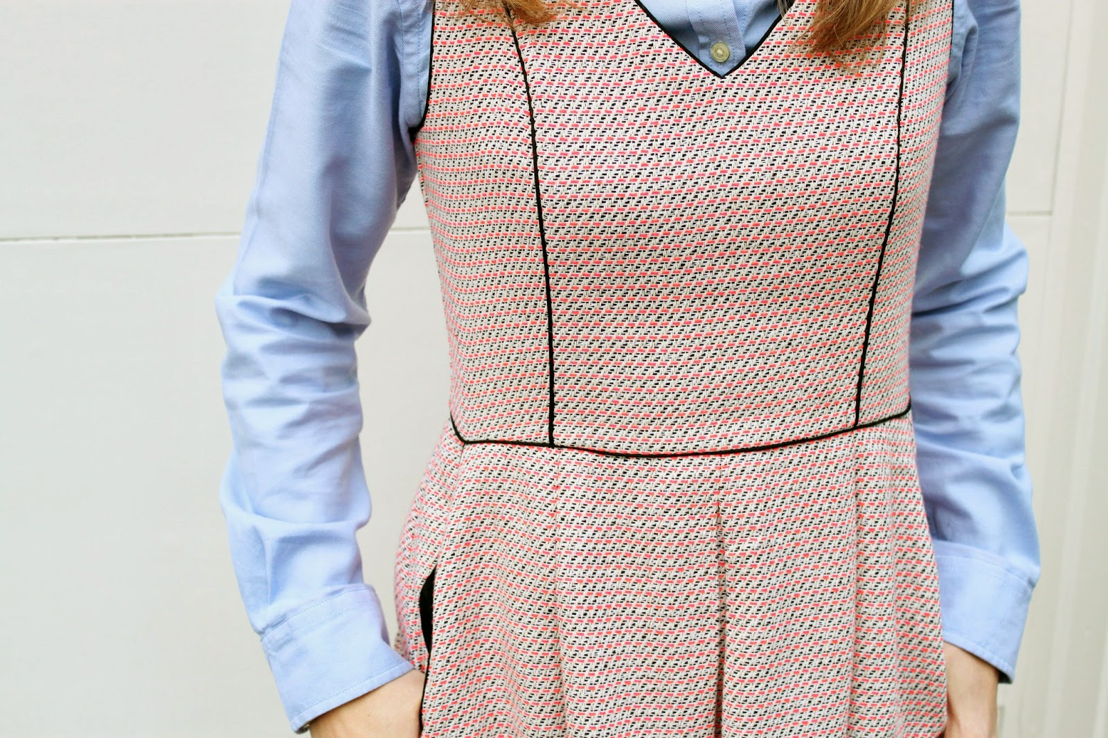 tweed dress + oxford shirt // The Salty Hanger