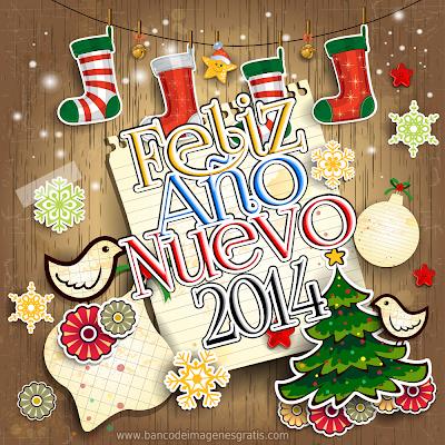 Ilustraciones con mensajes de Año Nuevo 2014
