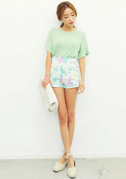 Stylenanda High Waist Summer Floral Shorts Kstylick Latest Korean Fashion K Pop Styles