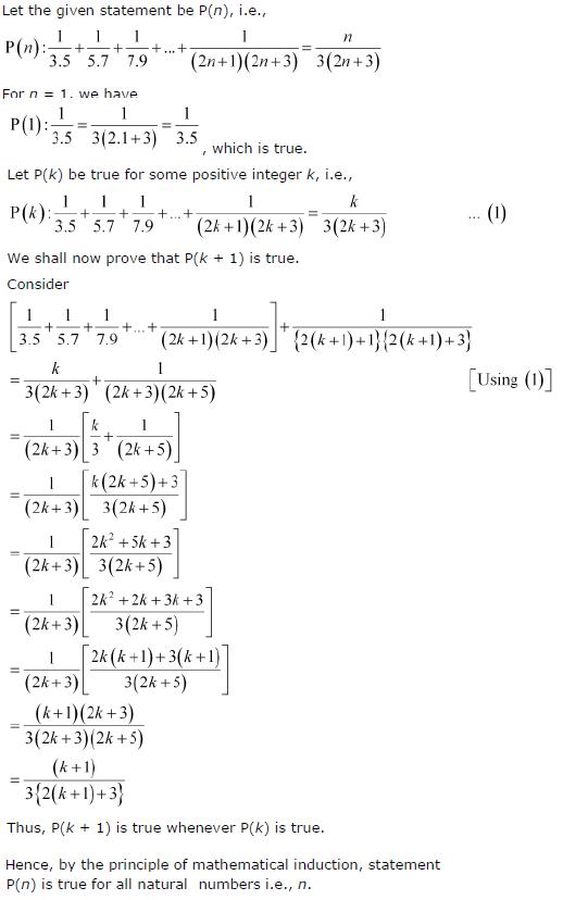 1/3.5 + 1/5.7 + 1/7.9 + … + 1/(2 n + 1)(2 n + 3) = n/{3(2 n + 3)}