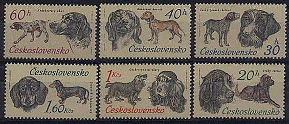 1973年チェコ・スロバキア連邦共和国 ジャーマン・ポインター Bavarian Hunting Dog チェク・テリア ダックスフンド コッカー・スパニエル アイリッシュ・セターの切手