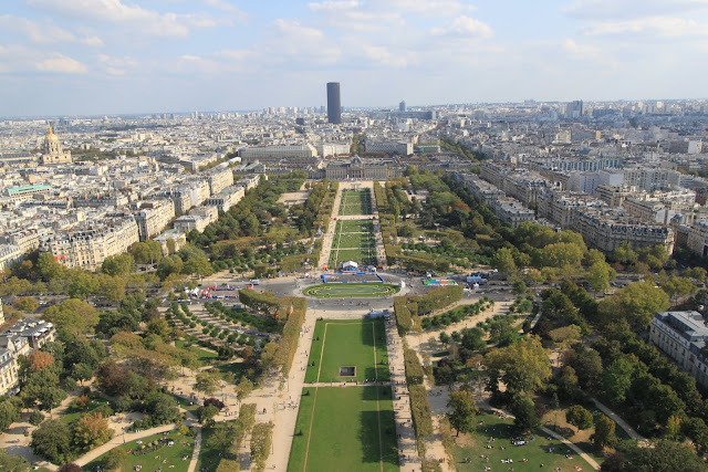 Top view of Paris downtown from Eiffel Tower in different angle in Paris, France
