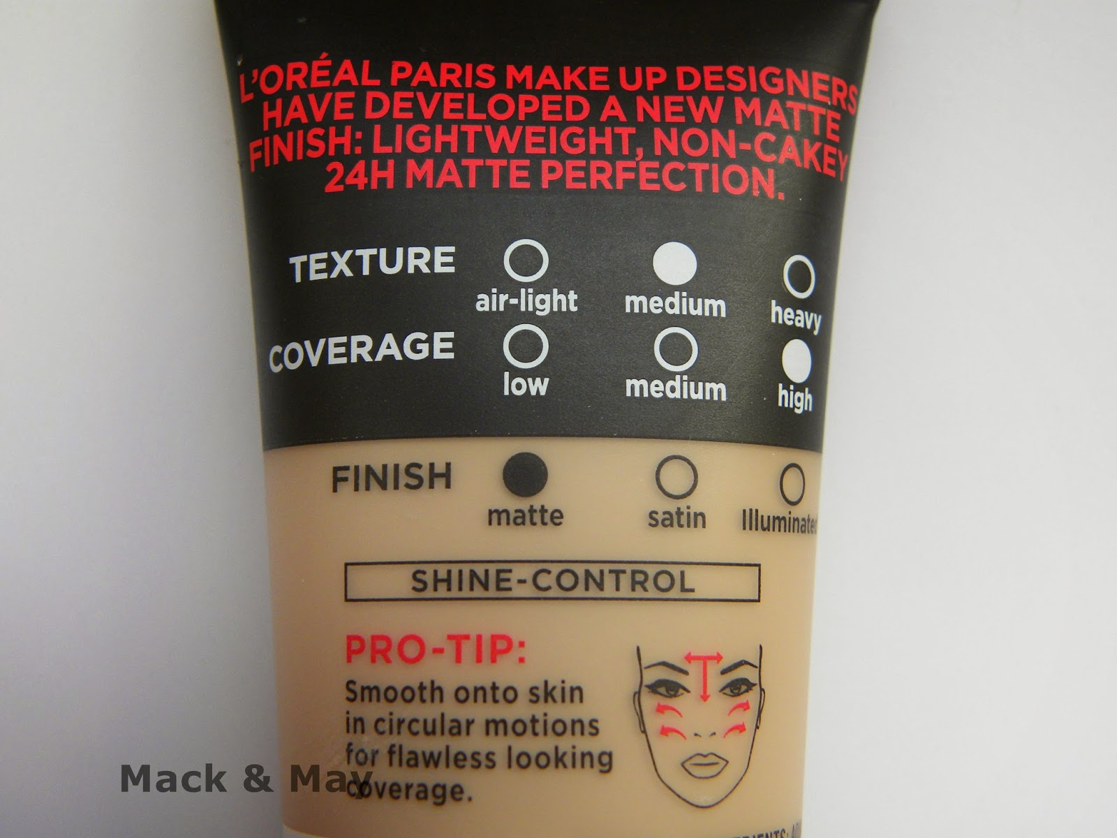 close up of back of foundation packaging