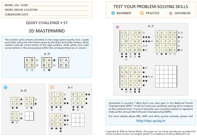 2D MASTERMIND Puzzles