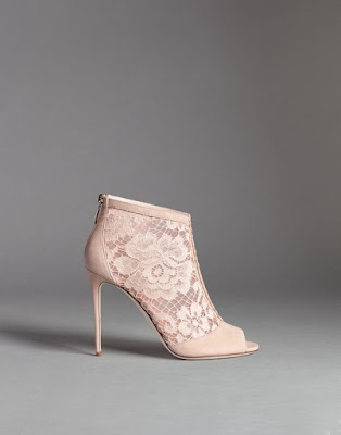 flesh colored lace an suede peep toe stiletto ankle boots