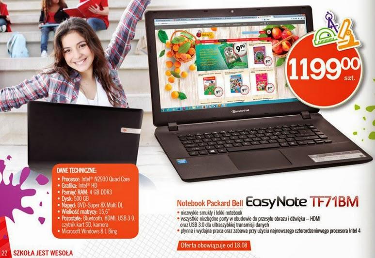 Notebook Packard Bell EasyNote TF71BM z Biedronka ulotka