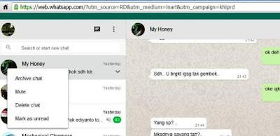 tampilan obrolan di Whatsapp web