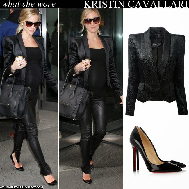 fe94910f8640 WHAT SHE WORE  Kristin Cavallari in black blazer with black leather ...