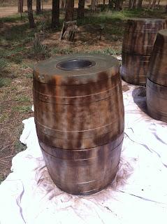 Spray barrels with espresso paint