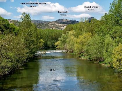 Vista del Ter amb Sant Salvador de Bellver, el Puigberlo i el Castell d'Orís des del Pont de Conanglell