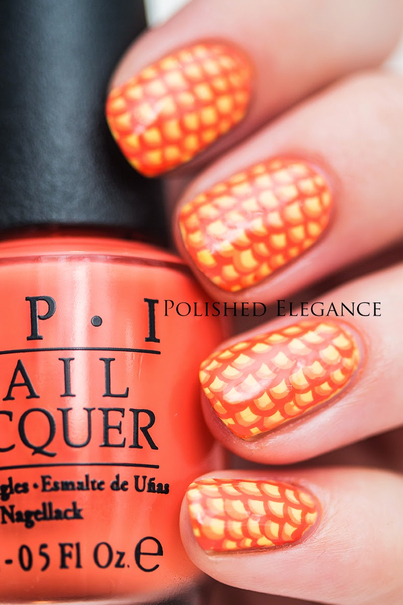 31DC2014 Orange nail art manicure scallop manicure nail art - OPI - Can't Afjörd Not To