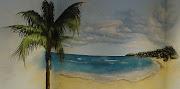 Trampantojo de playa del Caribe pintado en dormitorio (palmera)