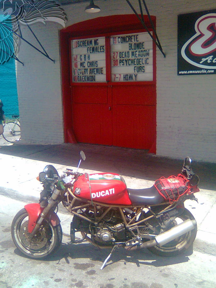 ducati monster in front of emo's