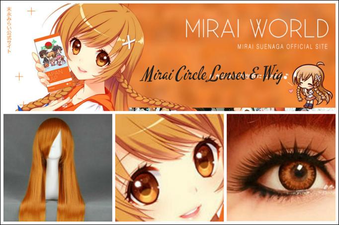 Mirai Suenaga Cosplay Circle Lenses and Cosplay Wig