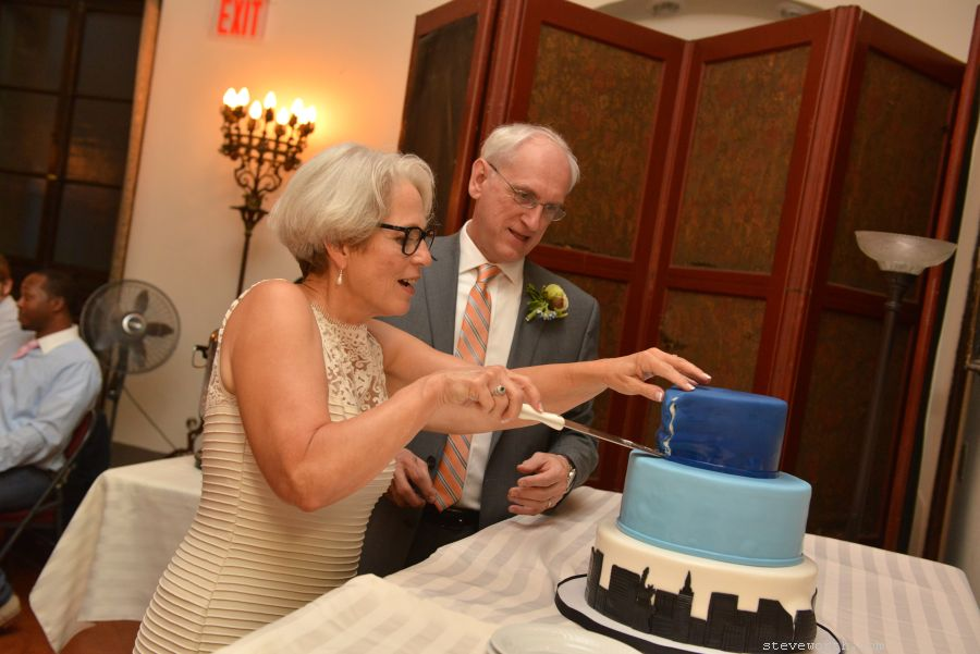 Cutting the wedding cake - House of the Redeemer NYC Wedding