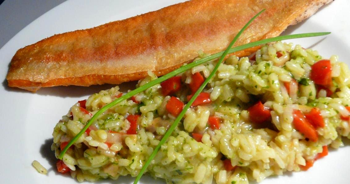 Goldforelle mit Pesto-Risotto