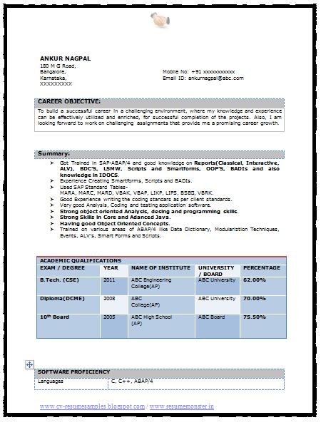 resume format for b tech cse   writing and editing services   attractionsxpress com