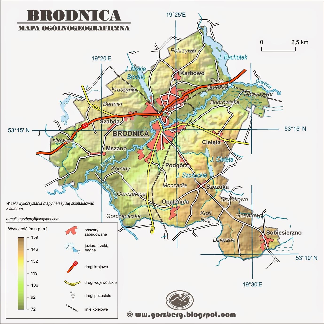 Mapa ogólnogeograficzna gminy Brodnica