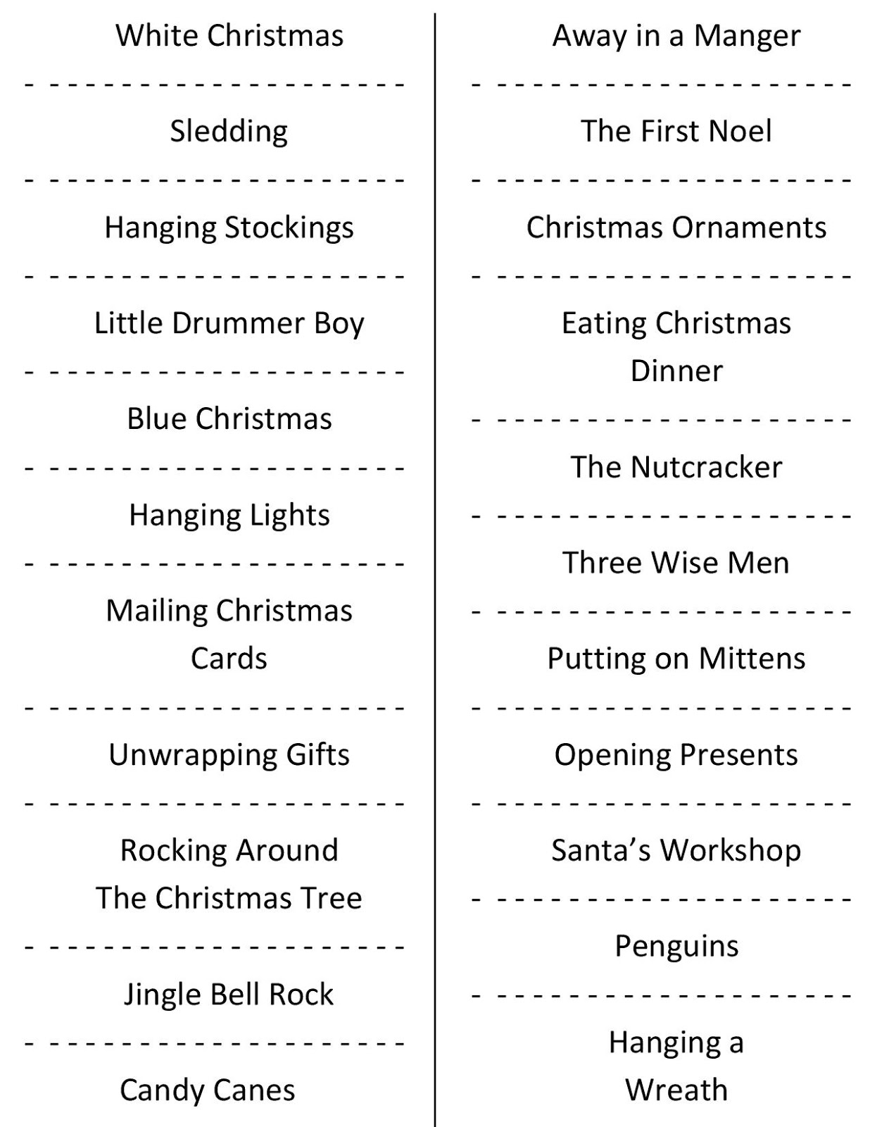 christmas charades free party game printable