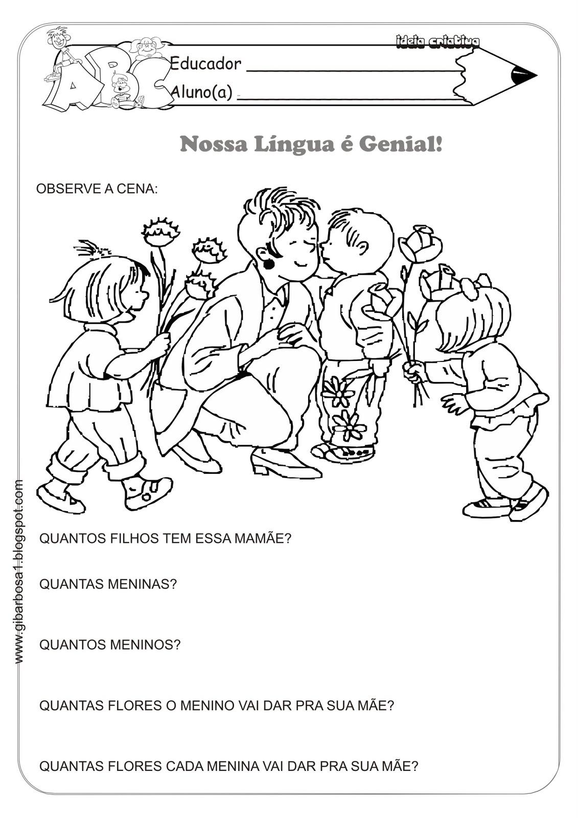Atividade Dia Das Mães Nossa Língua é Genial