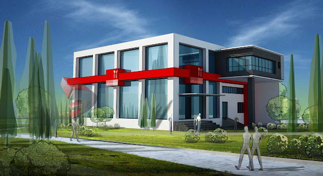 Exterior View Of Hotel,3d Architectural rendering of Hotel