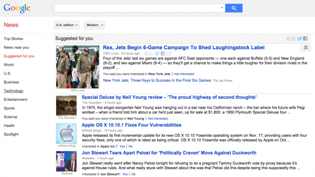 Google News Suggested For You