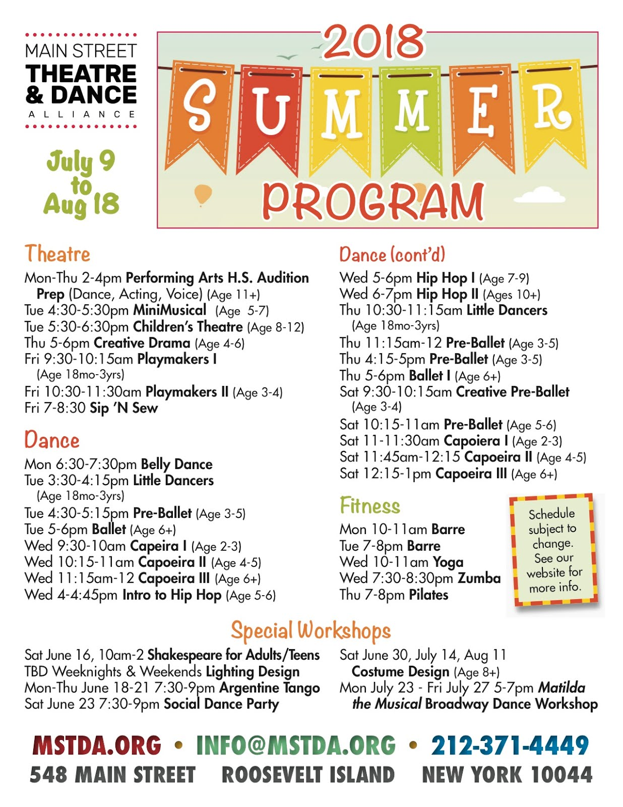 Main Street Theatre & Dance Alliance 2018 Summer Program