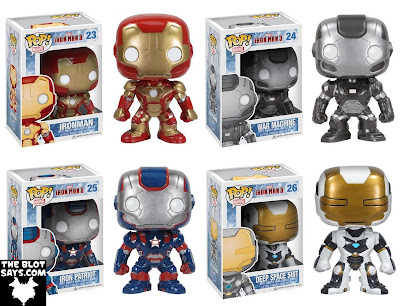 Iron Man 3 Pop! Marvel Vinyl Figures by Funko - Iron Man Mark 42, War Machine, Iron Patriot & Iron Man Deep Space Suit