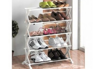 Shopclues : Buy Five Tier Foldable Stainless Steel Shoe Rack 16 Pair  which is worth Rs. 1999 at Rs. 399 only,BuyToEarn