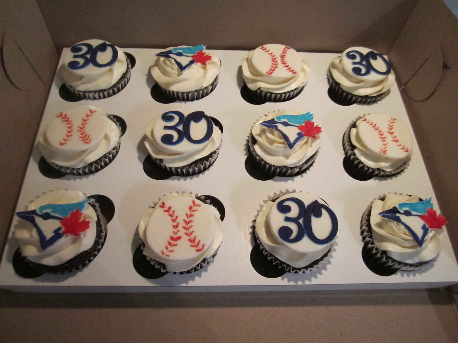 CakesOr Something Like That Blue Jays Cupcakes for a 30th Birthday