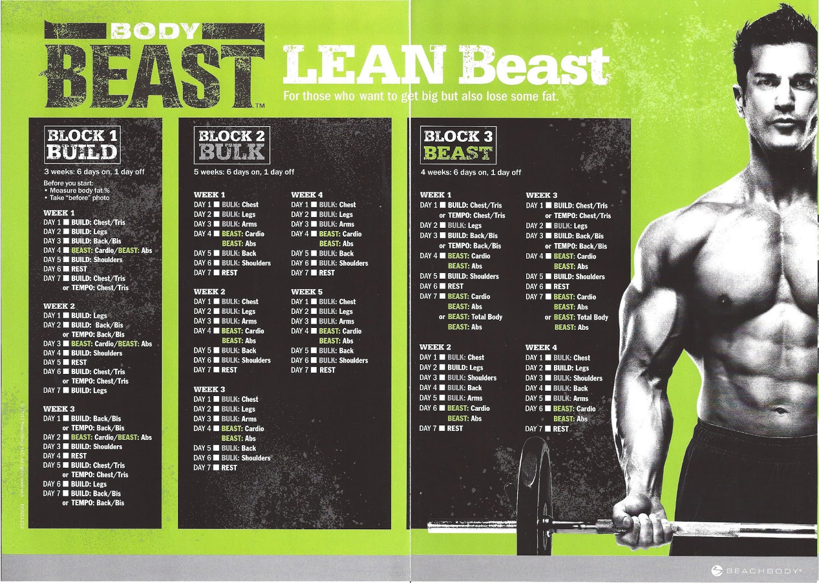 Unusual image in body beast schedule printable