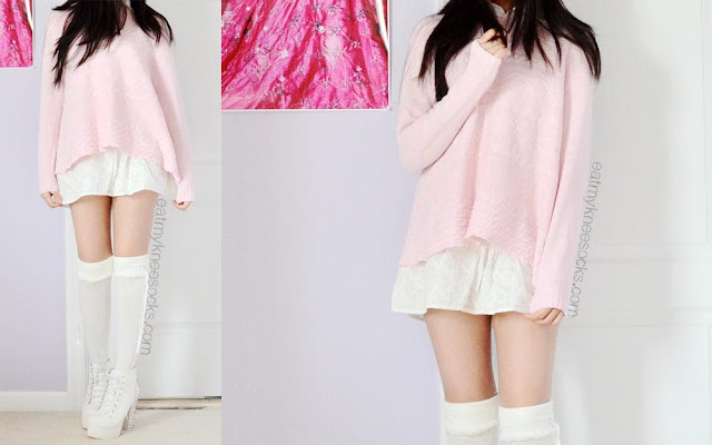 Full photos of the sweet, pastel ulzzang-inspired outfit for fall, winter, and spring, featuring a pastel pink SheIn sweater, a white ruffled layering blouse, white knee socks, and white Jeffrey Campbell Lita Spike platform booties dupes.