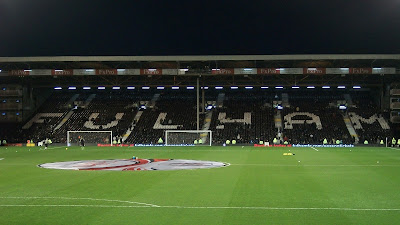 The seats on the opposite (home team) side spell out Fulham.