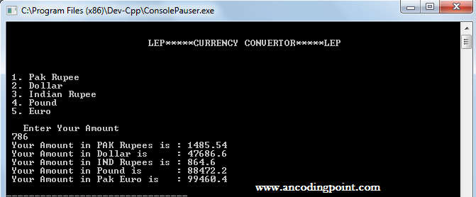 Currency Converter Program in C++