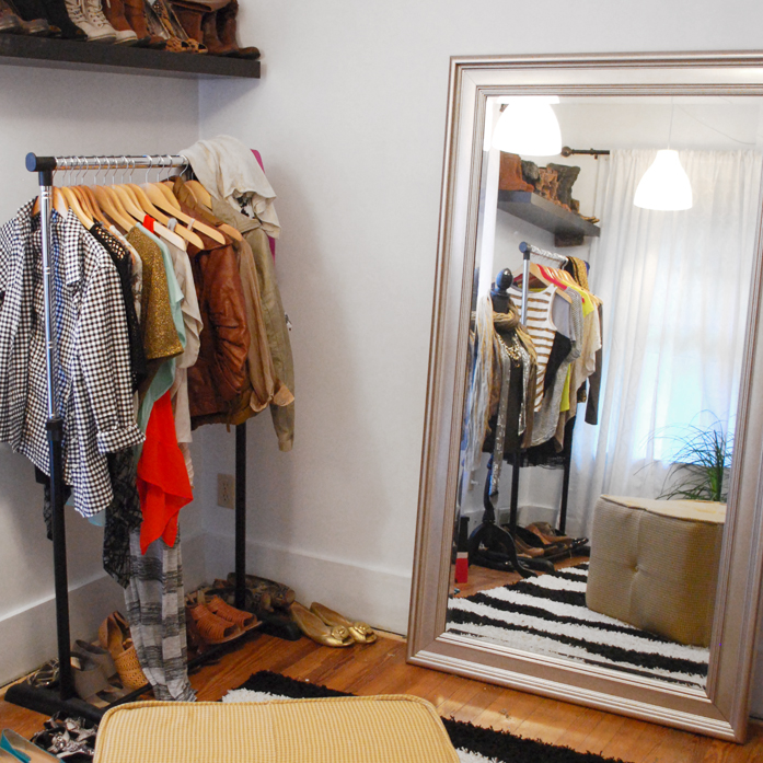 DIY Dressing Room with full length mirror