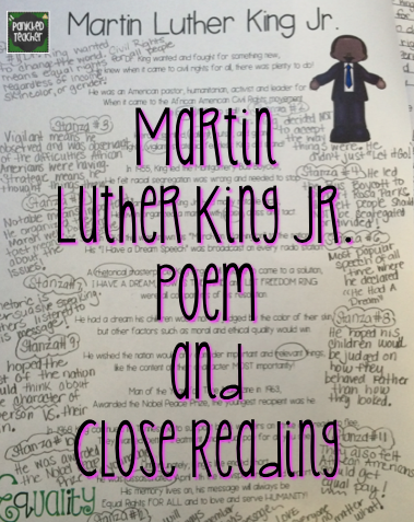 Martin Luther King, Jr. Close Reading, Martin Luther King, Jr. Poem, Martin Luther King, Jr. Writing Activity