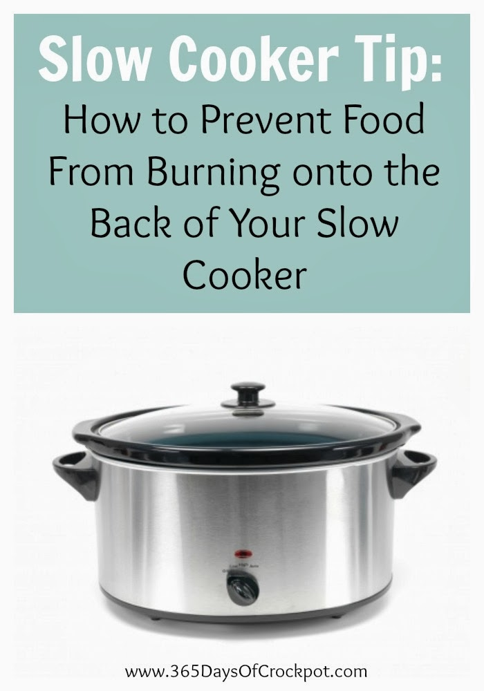 A helpful slow cooker tip...how to prevent food from burning onto the back of your slow cooker.  #crockpot #slowcooker #kitchentip