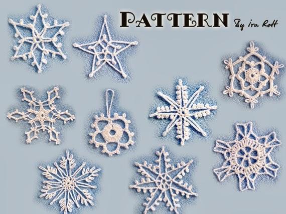 Free Irish Crochet Snowflake Pattern : http://www.irarott.com/Christmas_Snow_Flake_Crochet_PDF ...