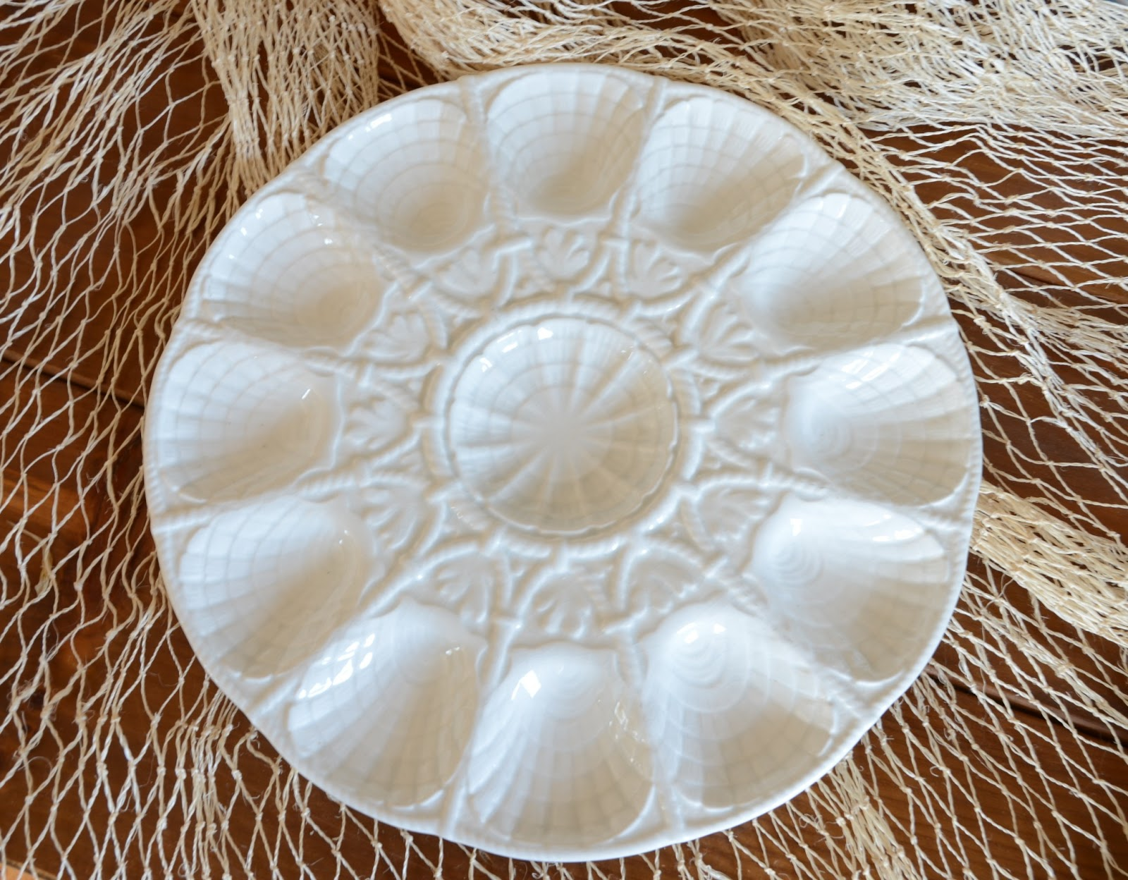 White Majolica Sarreguemines Oyster Platter & IRON \u0026 TWINE: Antique French Oyster Plate
