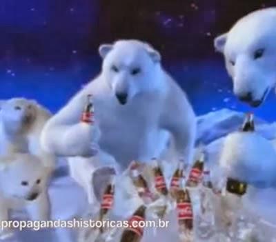 Propaganda da Coca-Cola com os ursos polares. 1998.