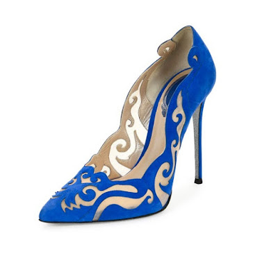 Rene Caovilla Blue Laser Cut Pumps